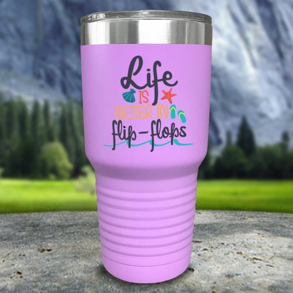 Life Is Better In Flip Flops Color Printed Tumblers Tumbler Nocturnal Coatings 30oz Tumbler Lavender
