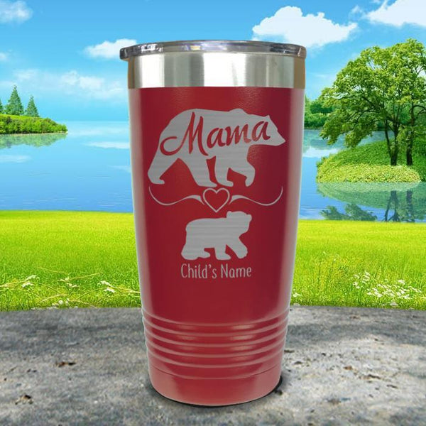 Mama Bear (CUSTOM) With Child's Name Engraved Tumblers Tumbler ZLAZER 20oz Tumbler Maroon