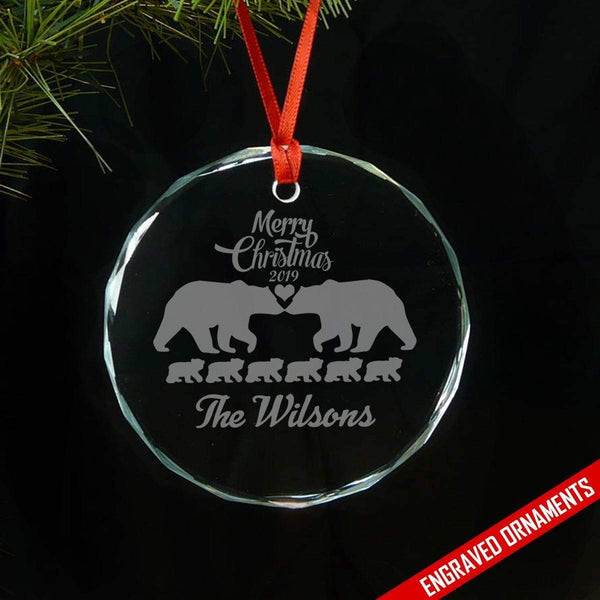 Mama Papa Bear Family With Kids (CUSTOM) Premium Engraved Glass Ornament ZLAZER Circle Ornament