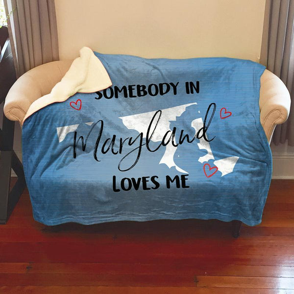 Somebody Loves Me (CUSTOM) Sherpa Blanket Blankets CustomCat Maryland