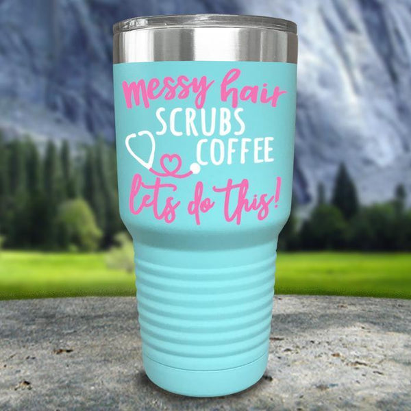 Messy Hair Scrubs Coffee Color Printed Tumblers Tumbler Nocturnal Coatings 30oz Tumbler Mint