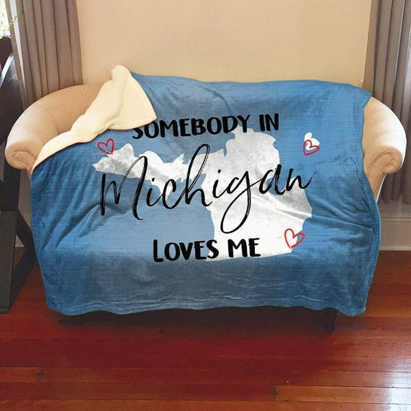 Somebody Loves Me (CUSTOM) Sherpa Blanket Blankets CustomCat Michigan