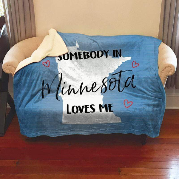 Somebody Loves Me (CUSTOM) Sherpa Blanket Blankets CustomCat Minnesota