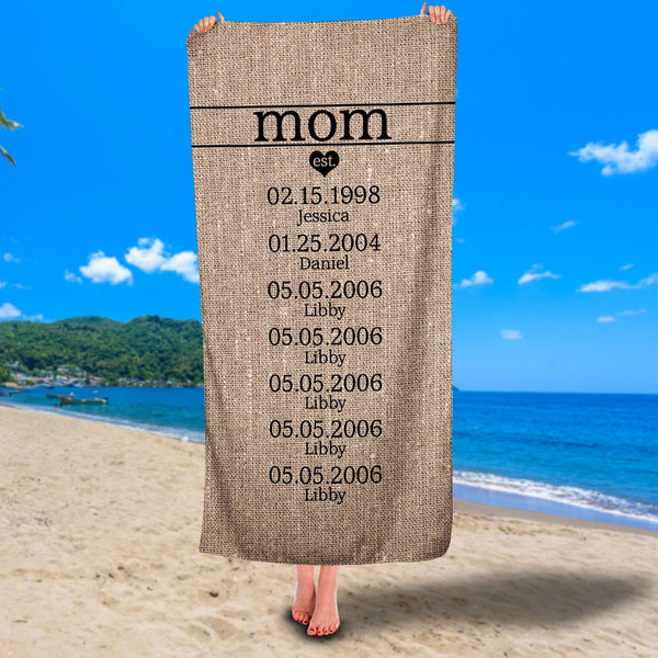 Personalized Mom Established Premium Beach/Pool Towel