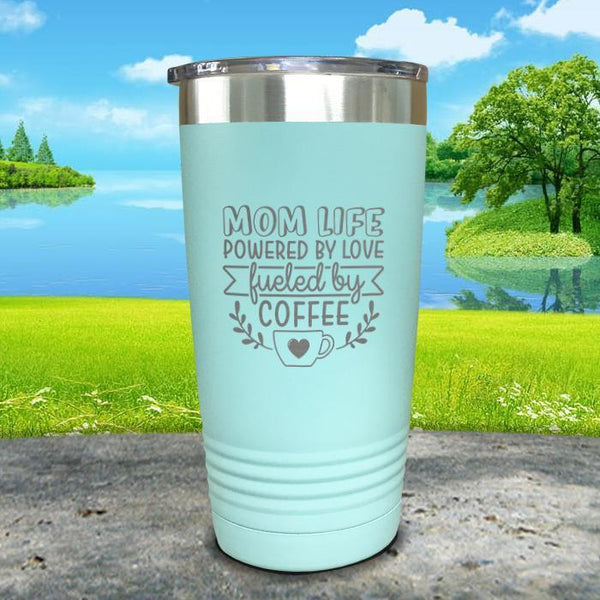 Mom Life Powered By Love Fueled By Coffee Engraved Tumbler Tumbler ZLAZER 20oz Tumbler Mint