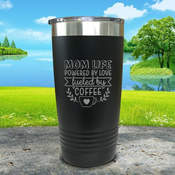 Mom Life Powered By Love Fueled By Coffee Engraved Tumbler Tumbler ZLAZER 20oz Tumbler Black
