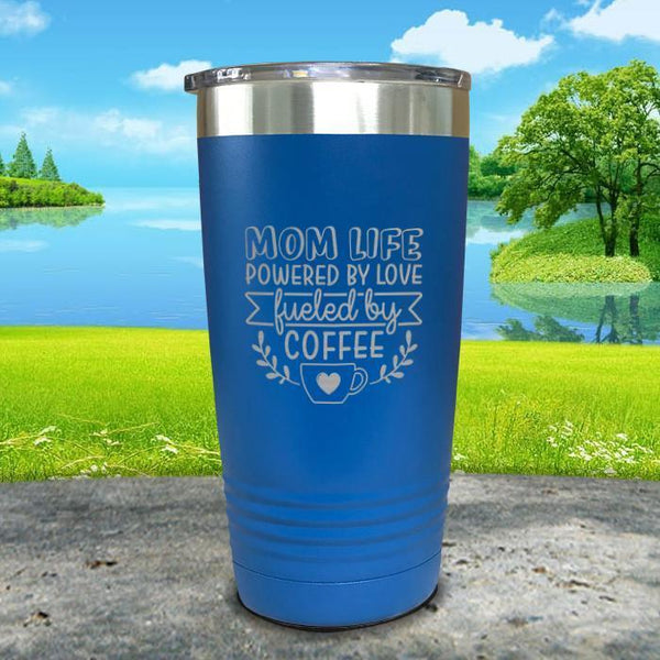 Mom Life Powered By Love Fueled By Coffee Engraved Tumbler Tumbler ZLAZER 20oz Tumbler Lemon Blue
