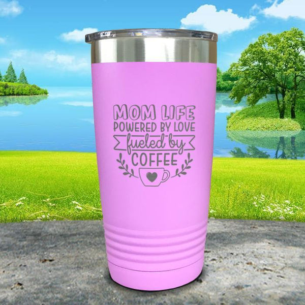 Mom Life Powered By Love Fueled By Coffee Engraved Tumbler Tumbler ZLAZER 20oz Tumbler Lavender