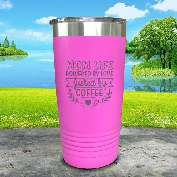 Mom Life Powered By Love Fueled By Coffee Engraved Tumbler Tumbler ZLAZER 20oz Tumbler Pink