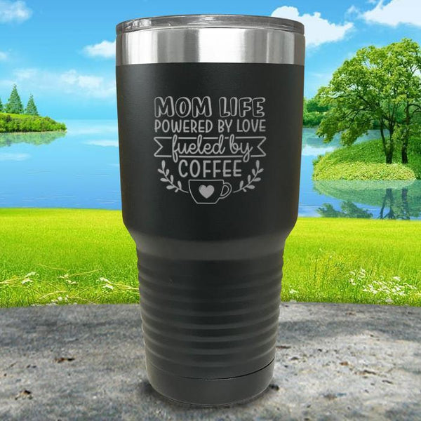 Mom Life Powered By Love Fueled By Coffee Engraved Tumbler Tumbler ZLAZER 30oz Tumbler Black