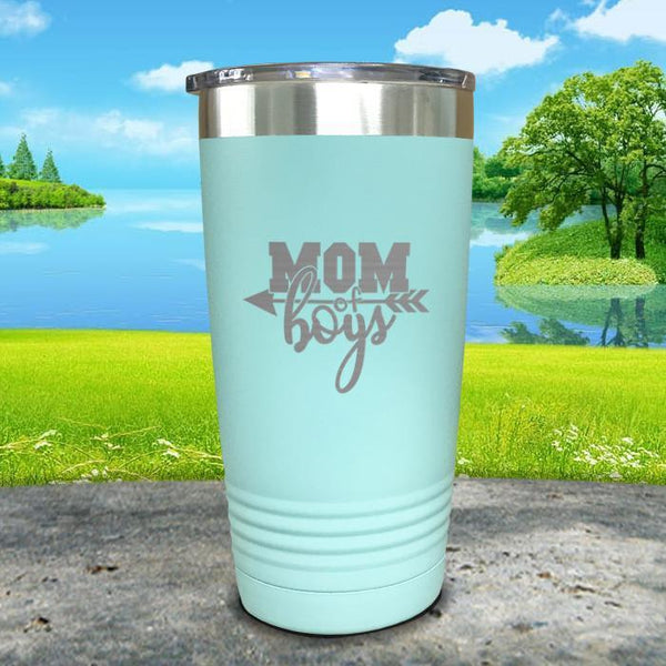 Mom Of Boys Engraved Tumbler Tumbler ZLAZER 20oz Tumbler Mint