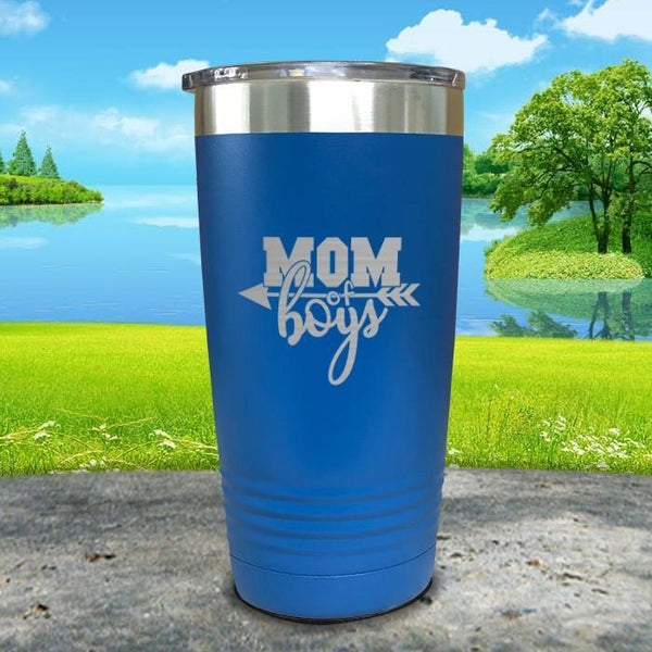 Mom Of Boys Engraved Tumbler Tumbler ZLAZER 20oz Tumbler Blue