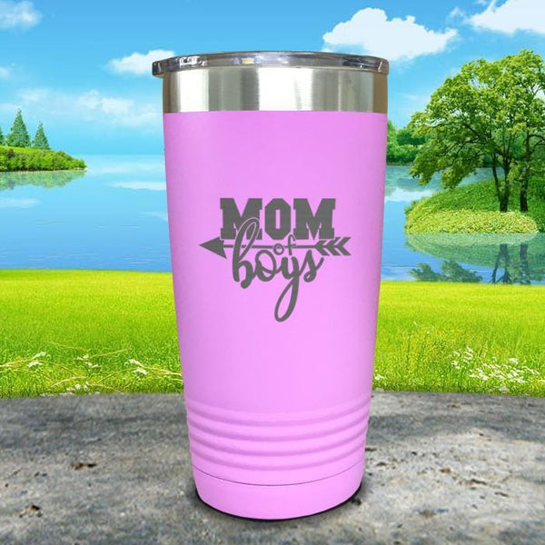 Mom Of Boys Engraved Tumbler Tumbler ZLAZER 20oz Tumbler Lavender
