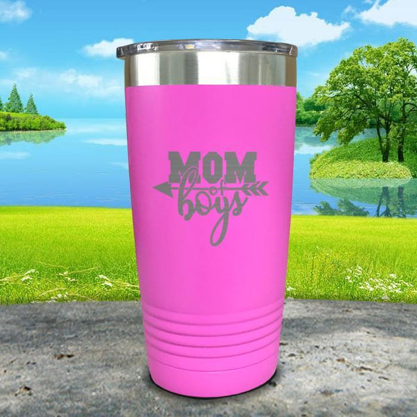 Mom Of Boys Engraved Tumbler Tumbler ZLAZER 20oz Tumbler Pink