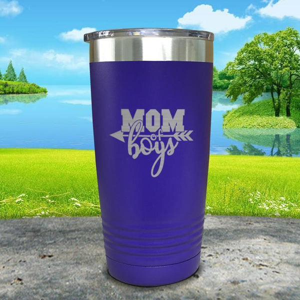 Mom Of Boys Engraved Tumbler Tumbler ZLAZER 20oz Tumbler Royal Purple