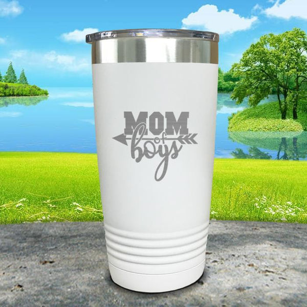 Mom Of Boys Engraved Tumbler Tumbler ZLAZER 20oz Tumbler White