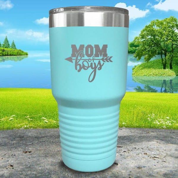 Mom Of Boys Engraved Tumbler Tumbler ZLAZER 30oz Tumbler Mint