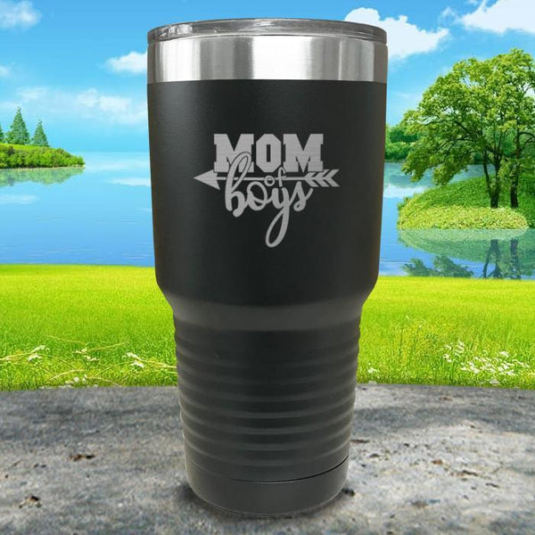 Mom Of Boys Engraved Tumbler Tumbler ZLAZER 30oz Tumbler Black
