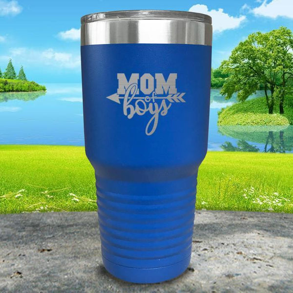 Mom Of Boys Engraved Tumbler Tumbler ZLAZER 30oz Tumbler Blue