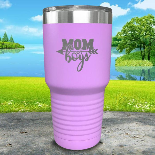 Mom Of Boys Engraved Tumbler Tumbler ZLAZER 30oz Tumbler Lavender