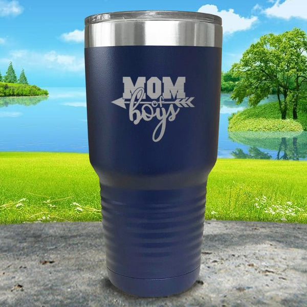 Mom Of Boys Engraved Tumbler Tumbler ZLAZER 30oz Tumbler Navy