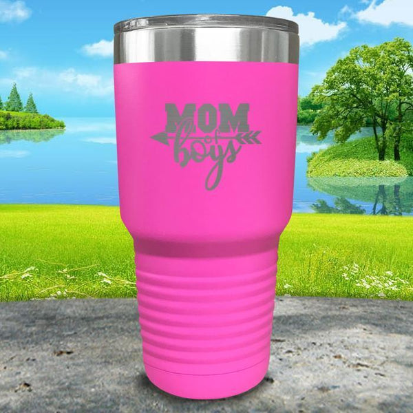 Mom Of Boys Engraved Tumbler Tumbler ZLAZER 30oz Tumbler Pink