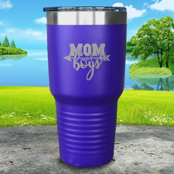 Mom Of Boys Engraved Tumbler Tumbler ZLAZER 30oz Tumbler Royal Purple