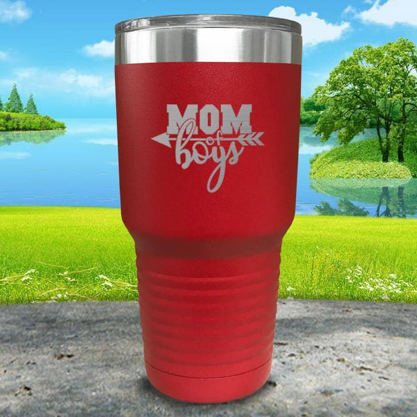 Mom Of Boys Engraved Tumbler Tumbler ZLAZER 30oz Tumbler Red