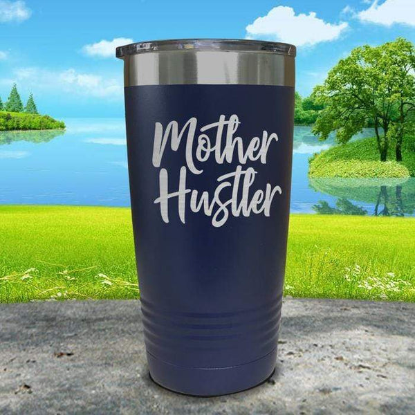 Mother Hustler Engraved Tumbler Tumbler ZLAZER 20oz Tumbler Navy