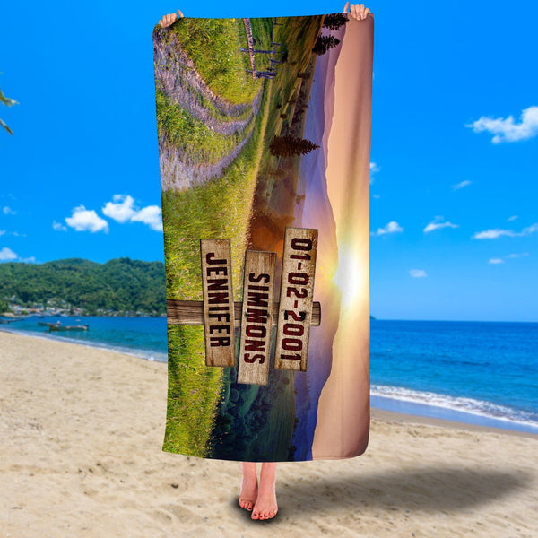 Personalized Mountainside Premium Beach/Pool Towel