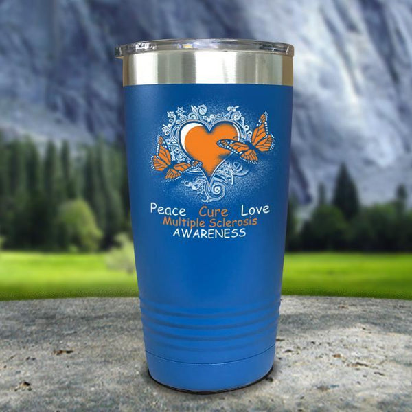 Multiple Sclerosis Awareness Color Printed Tumblers Tumbler Nocturnal Coatings 20oz Tumbler Blue