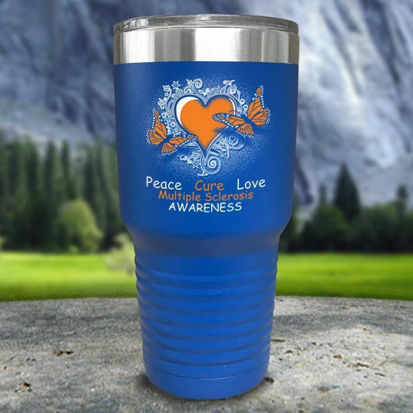 Multiple Sclerosis Awareness Color Printed Tumblers Tumbler Nocturnal Coatings 30oz Tumbler Blue