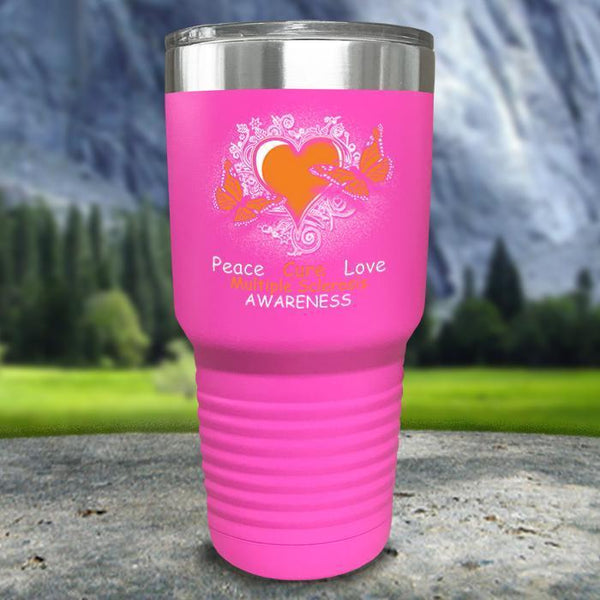 Multiple Sclerosis Awareness Color Printed Tumblers Tumbler Nocturnal Coatings 30oz Tumbler Pink