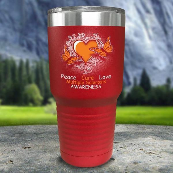 Multiple Sclerosis Awareness Color Printed Tumblers Tumbler Nocturnal Coatings 30oz Tumbler Red