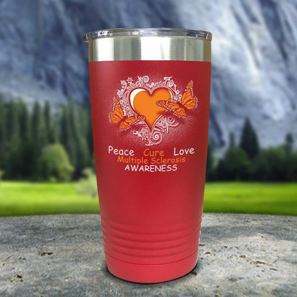 Multiple Sclerosis Awareness Color Printed Tumblers Tumbler Nocturnal Coatings 20oz Tumbler Red