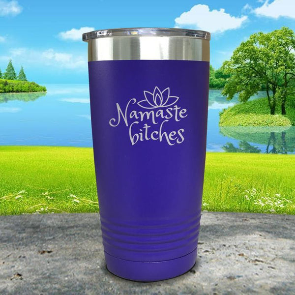 Namaste Bitches Engraved Tumbler Tumbler ZLAZER 20oz Tumbler Royal Purple