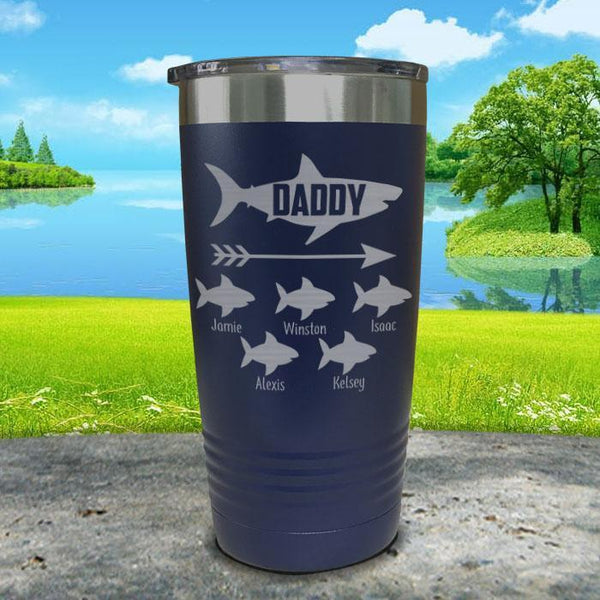 Daddy Shark (CUSTOM) With Child's Name Engraved Tumblers Tumbler Southland