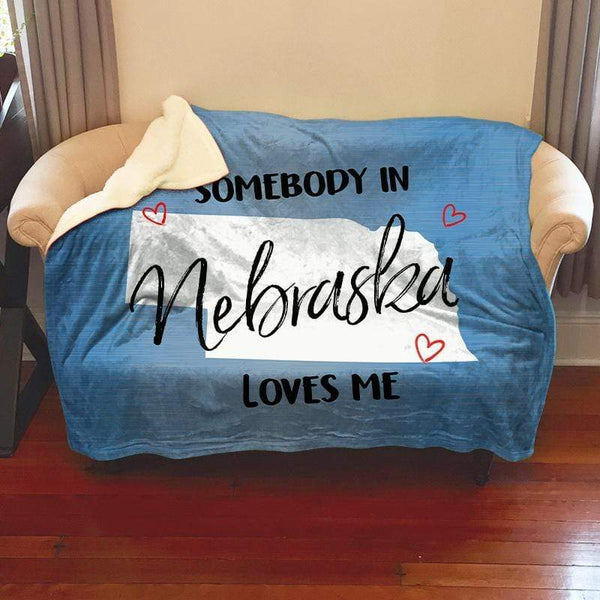 Somebody Loves Me (CUSTOM) Sherpa Blanket Blankets CustomCat Nebraska