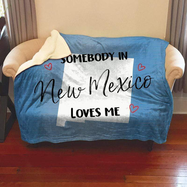 Somebody Loves Me (CUSTOM) Sherpa Blanket Blankets CustomCat New Mexico