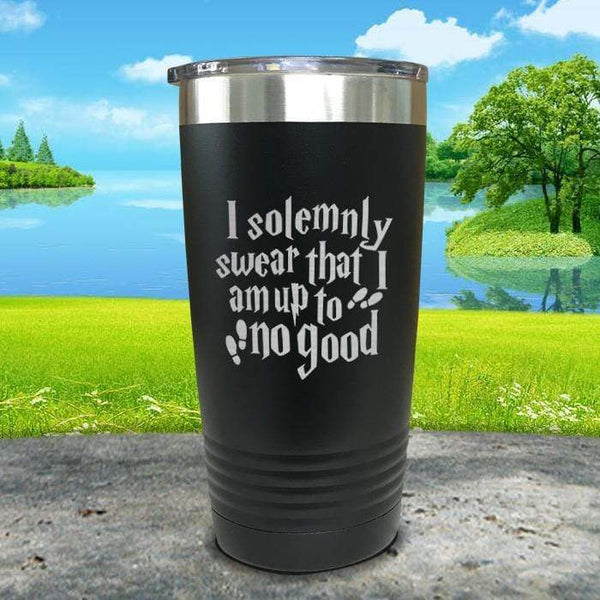 I Solemnly Swear I'm Up To No Good Engraved Tumbler Tumbler ZLAZER 20oz Tumbler Black