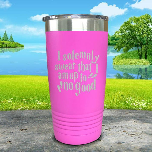 I Solemnly Swear I'm Up To No Good Engraved Tumbler Tumbler ZLAZER 20oz Tumbler Pink