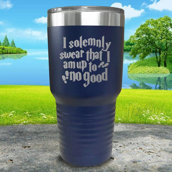 I Solemnly Swear I'm Up To No Good Engraved Tumbler Tumbler ZLAZER 30oz Tumbler Navy