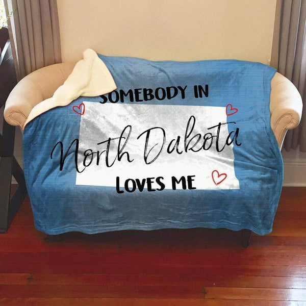 Somebody Loves Me (CUSTOM) Sherpa Blanket Blankets CustomCat North Dakota
