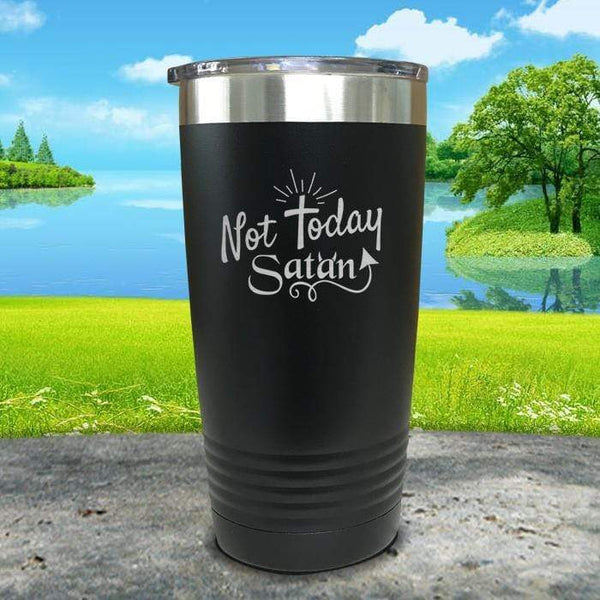 Not Today Satan Engraved Tumbler Tumbler ZLAZER 20oz Tumbler Black
