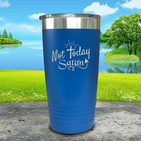 Not Today Satan Engraved Tumbler Tumbler ZLAZER 20oz Tumbler Blue