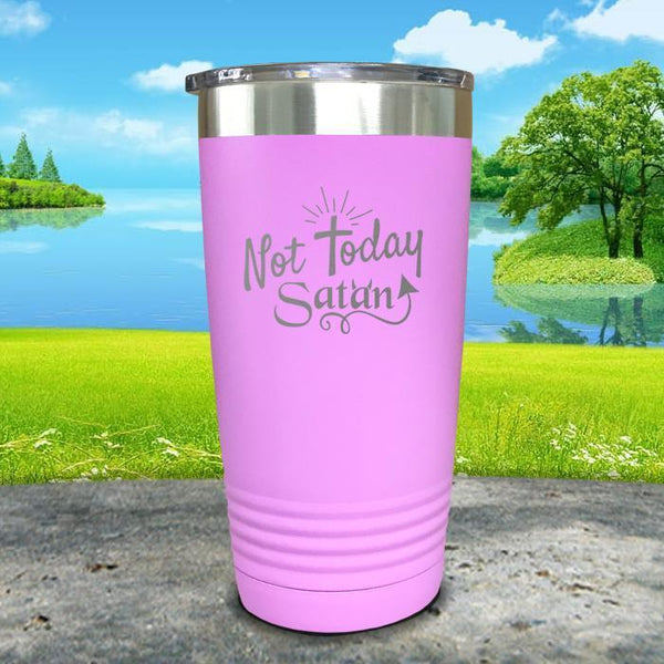 Not Today Satan Engraved Tumbler Tumbler ZLAZER 20oz Tumbler Lavender