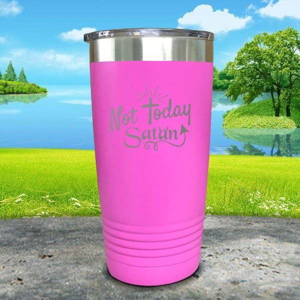 Not Today Satan Engraved Tumbler Tumbler ZLAZER 20oz Tumbler Pink