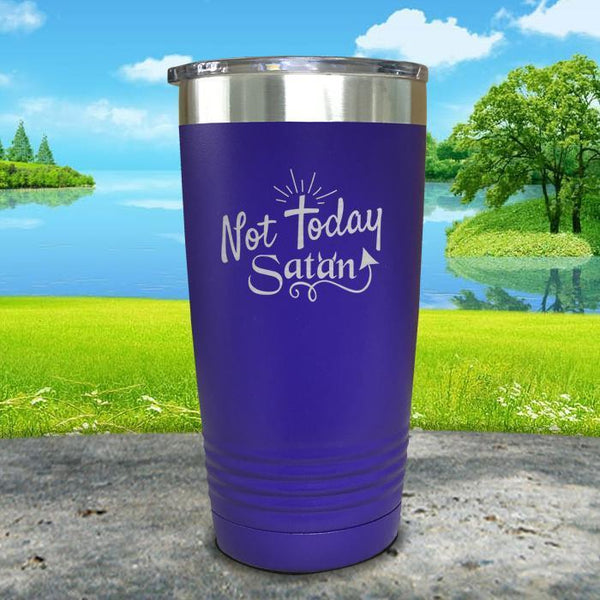 Not Today Satan Engraved Tumbler Tumbler ZLAZER 20oz Tumbler Royal Purple