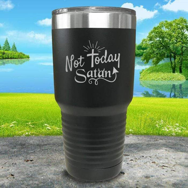 Not Today Satan Engraved Tumbler Tumbler ZLAZER 30oz Tumbler Black