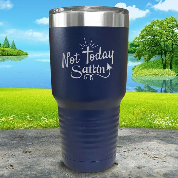 Not Today Satan Engraved Tumbler Tumbler ZLAZER 30oz Tumbler Navy